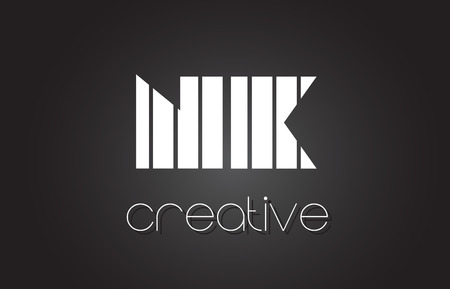 NK N K Creative Letter Logo Design With White and Black Lines.