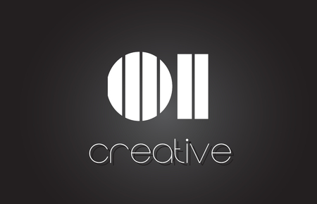 OI O I Creative Letter Logo Design With White and Black Lines.
