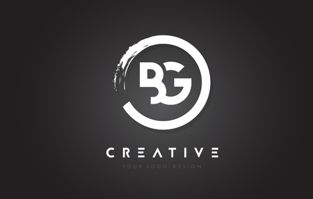 BG Circular Letter Logo with Circle Brush Design and Black Background.