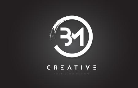 BM Circular Letter Logo with Circle Brush Design and Black Background.  イラスト・ベクター素材