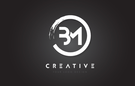 BM Circular Letter Logo with Circle Brush Design and Black Background. Illustration