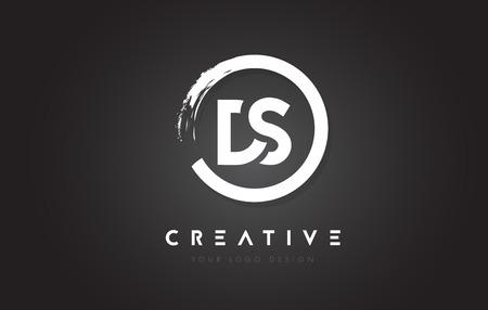 DS Circular Letter Logo met Circle Brush Design en zwarte achtergrond.