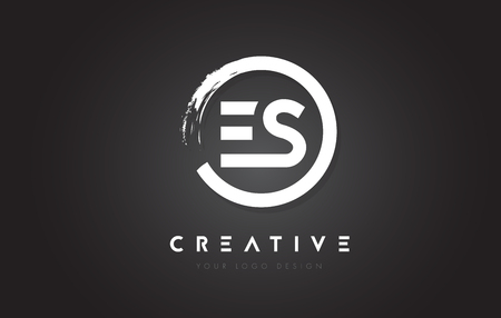 ES Circular Letter Logo with Circle Brush Design and Black Background.