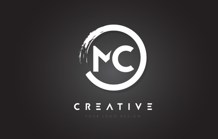 letter c: MC Circular Letter Logo with Circle Brush Design and Black Background. Illustration