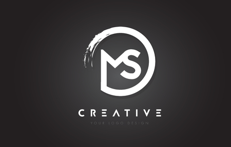 MS Circular Letter Logo with Circle Brush Design and Black Background.