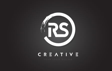 RS Circular Letter Logo with Circle Brush Design and Black Background. Logó