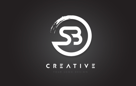 SB Circular Letter Logo with Circle Brush Design and Black Background.