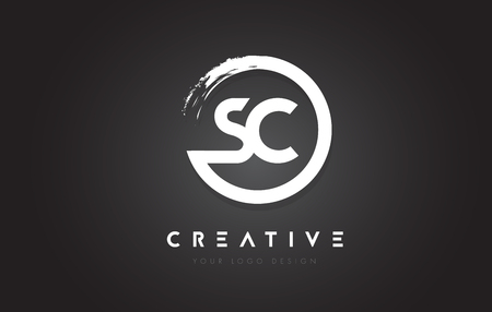 SC Circular Letter Logo with Circle Brush Design and Black Background.