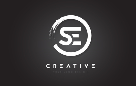 SE Circular Letter Logo with Circle Brush Design and Black Background.