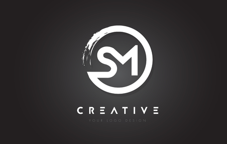 SM Circular Letter Logo with Circle Brush Design and Black Background. Ilustrace