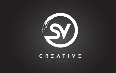 SV Circular Letter Logo with Circle Brush Design and Black Background.