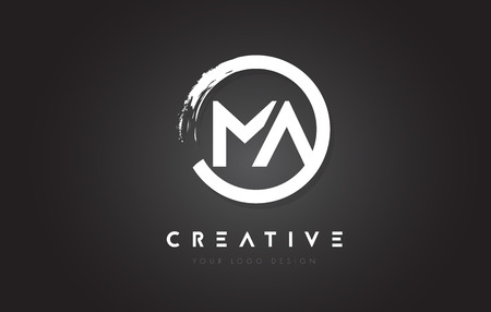 MA Circular Letter Logo with Circle Brush Design and Black Background. Ilustração