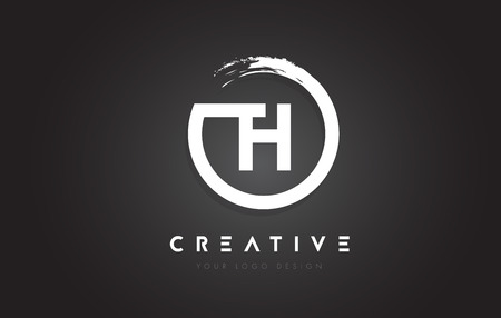 TH Circular Letter Logo with Circle Brush Design and Black Background.