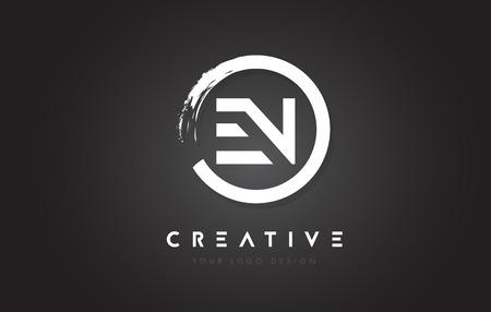 EN Circular Letter Logo with Circle Brush Design and Black Background.