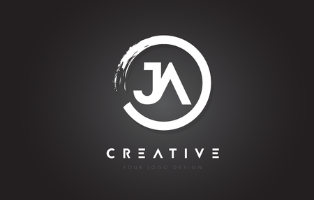 JA Circular Letter Logo with Circle Brush Design and Black Background.