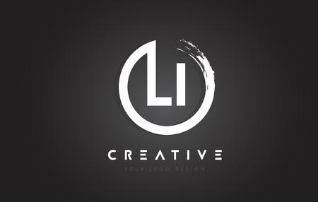 LI Circular Letter Logo with Circle Brush Design and Black Background. Ilustracja