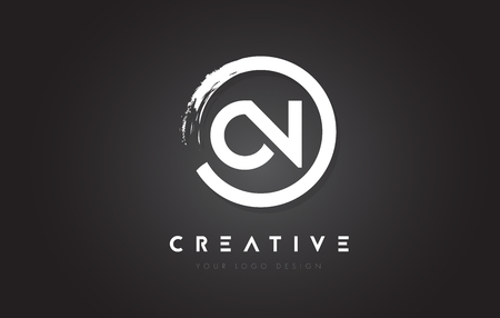 ON Circular Letter Logo with Circle Brush Design and Black Background.