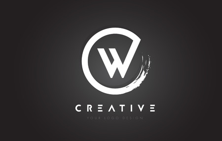 W Circular Letter Logo with Circle Brush Design and Black Background.