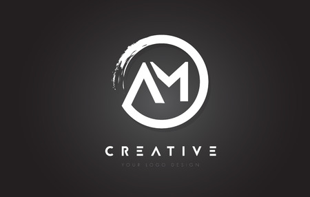 AM Circular Letter Logo with Circle Brush Design and Black Background. Illustration