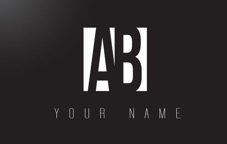 AB Letter Logo With Black and White Letters Negative Space Design. Illustration