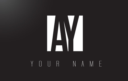 AY Letter Logo With Black and White Letters Negative Space Design.
