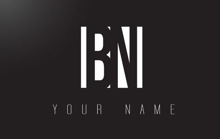 b n: BN Letter Logo With Black and White Letters Negative Space Design.