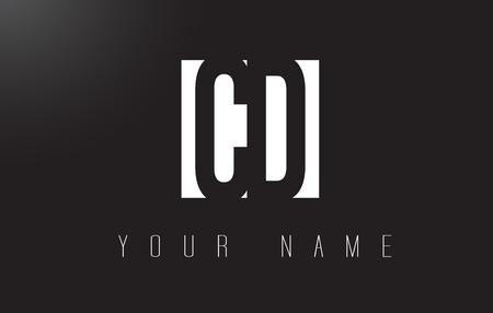 letter c: CD Letter Logo With Black and White Letters Negative Space Design.