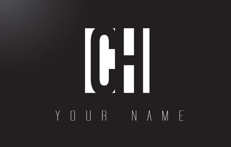 letter c: CH Letter Logo With Black and White Letters Negative Space Design.