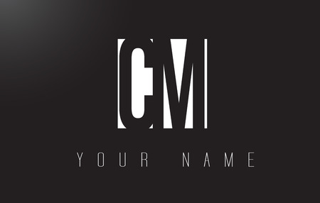 CM Letter Logo With Black and White Letters Negative Space Design.