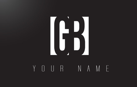 GB Letter Logo With Black and White Letters Negative Space Design. Illustration