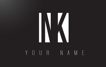 NK letter logo with black and white letters negative space design