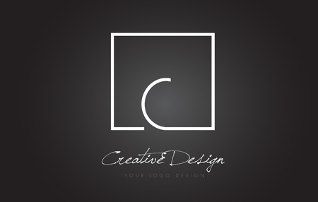 letter c: C Square Framed Letter Logo Design Vector with Black and White Colors.