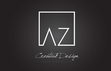 AZ Square Framed Letter Logo Design Vector with Black and White Colors.