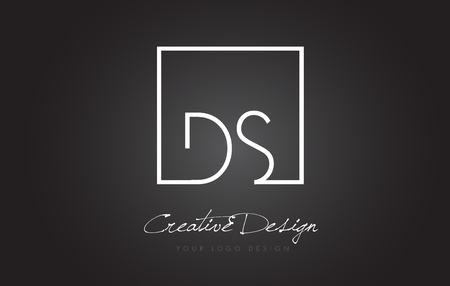 DS Square Framed Letter Logo Design Vector with Black and White Colors.