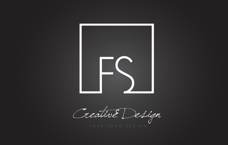 FS Square Framed Letter Logo Design Vector with Black and White Colors.