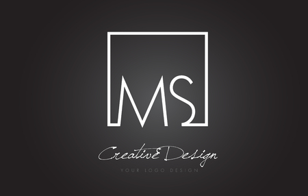 MS Square Framed Letter Logo Design Vector with Black and White Colors.