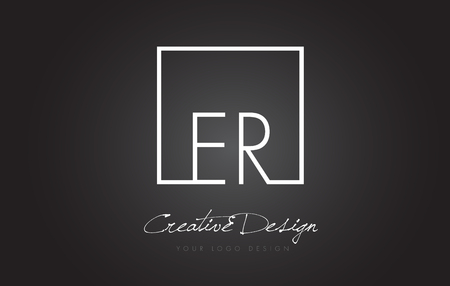 er: ER Square Framed Letter Logo Design Vector with Black and White Colors. Illustration