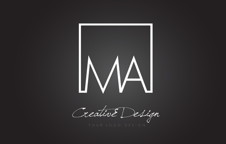 MA Square Framed Letter Logo Design Vector with Black and White Colors.