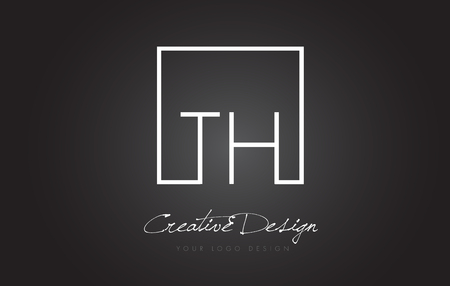 TH Square Framed Letter Logo Design Vector with Black and White Colors.
