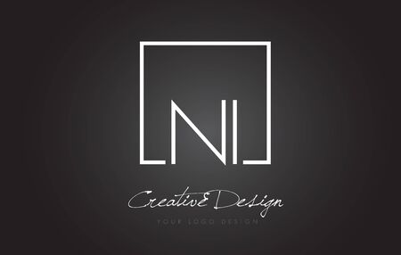 NI Square Framed Letter Logo Design Vector with Black and White Colors.