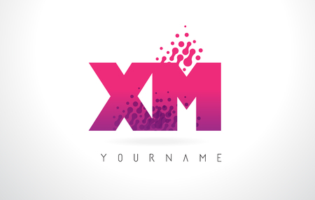 xm: XM X M Letter Logo with Pink Letters and Purple Color Particles Dots Design. Illustration