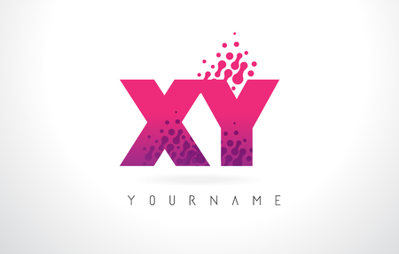 xy: XY X Y Letter Logo with Pink Letters and Purple Color Particles Dots Design. Illustration