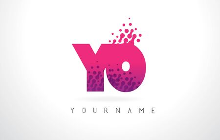 YO Y O Letter Logo with Pink Letters and Purple Color Particles Dots Design. Illustration