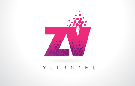 ZV Z V Letter Logo with Pink Letters and Purple Color Particles Dots Design.