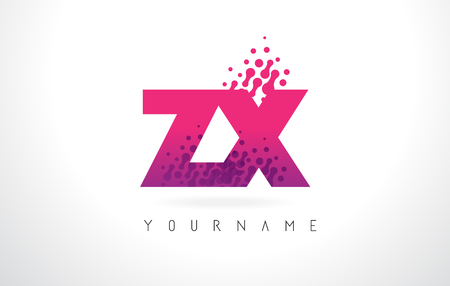 ZX Z X Letter Logo with Pink Letters and Purple Color Particles Dots Design. Illustration