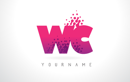 sign: WC W C Letter Logo with Pink Letters and Purple Color Particles Dots Design. Illustration