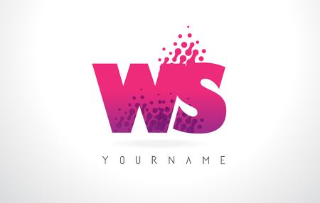 WS W S Letter Logo with Pink Letters and Purple Color Particles Dots Design. Illustration