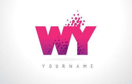 핑크 편지와 보라색 색 입자 점 디자인 WY WY 편지 로고. 스톡 콘텐츠 - 79940813