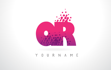 QR Q R Letter Logo with Pink Letters and Purple Color Particles Dots Design.