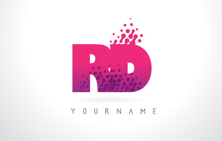 rd: RD R D Letter Logo with Pink Letters and Purple Color Particles Dots Design. Illustration